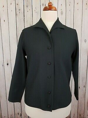 Ladies 70s Black Collared Polyknit Buttoned Cardigan / Top Mod -14/16- JM91