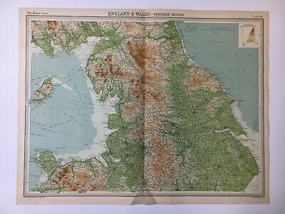 1922 Antique Old Map Bartholomew Times Atlas Of England & Wales Northern Section