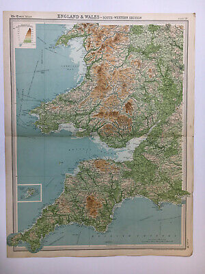 1922 Antique Old Map Bartholomew Times Atlas Of England & Wales Southern Section