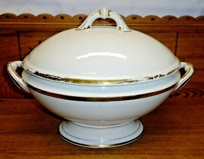 Large Antique French Old Paris Porcelain Gold Edge Tureen - MUCH GOLD WEAR