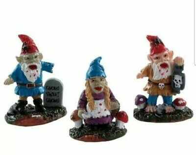 Lemax Spooky Town Halloween Zombie Garden Gnomes Set of 3 Brand New