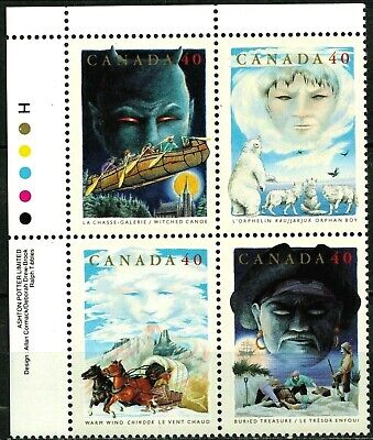 Canada Stamp #1337a - Canadian Folklore-2 (1991) 4 x 40¢ UL Plate Block MNH