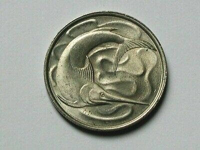Singapore 1979 20 CENTS Coin AU+ with Toned-Lustre & Sword Fish Ocean Animal