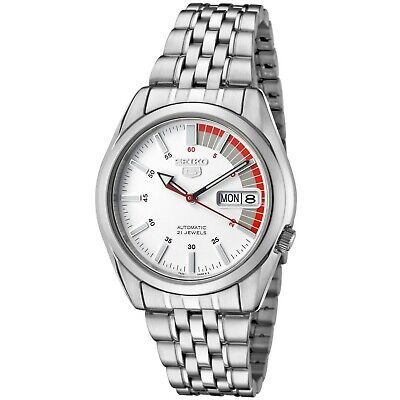 Seiko 5 Men's Automatic White Dial Stainless Steel Watch SNK369
