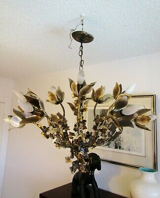 Vintage Mid Century Brutalist Feldman Tom Greene Flower Chandelier light fixture