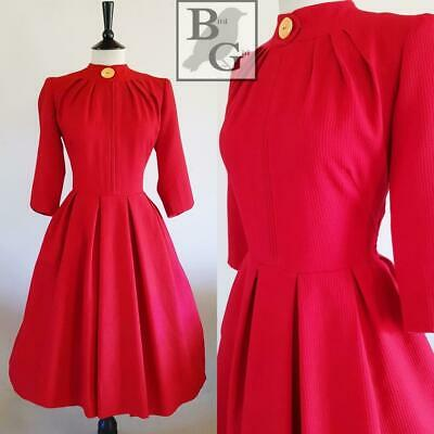New Look Original 1950S Vintage Red Textured Pin Dot Swing Cocktail Dress 10 S