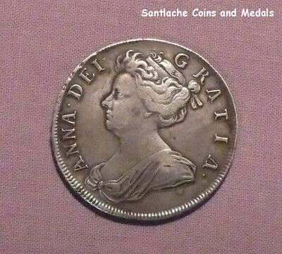 1706 QUEEN ANNE SILVER HALFCROWN - ROSES & PLUMES - Scarce Coin