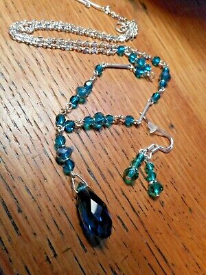 Vintage Czech Art Deco Lavalier Teardrop style Teal Green Glass Necklace E/r Set