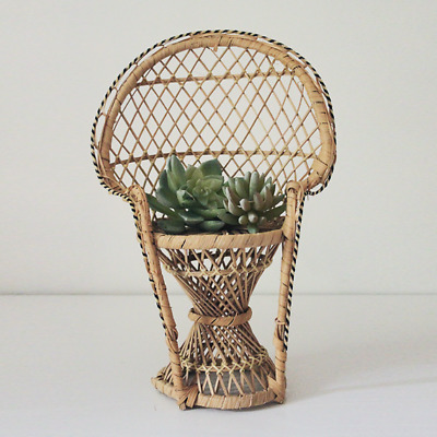 Vintage Wicker Rattan Miniature Peacock Back Doll Chair Plant Stand Boho