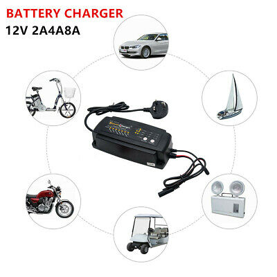12 V 2/4/8 A Auto Smart Intelligent Microprocessor Car Bike Battery Charger