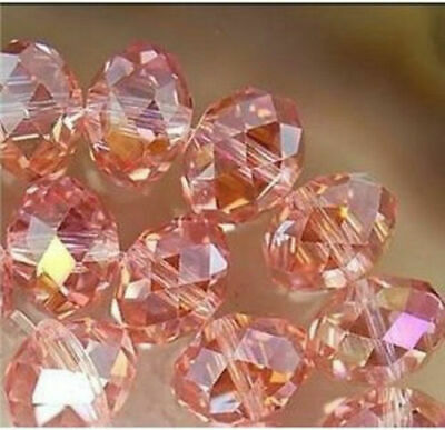 Wholesale 68pc 6*8mm Faceted Rondelle glass crystal Beads pink+AB