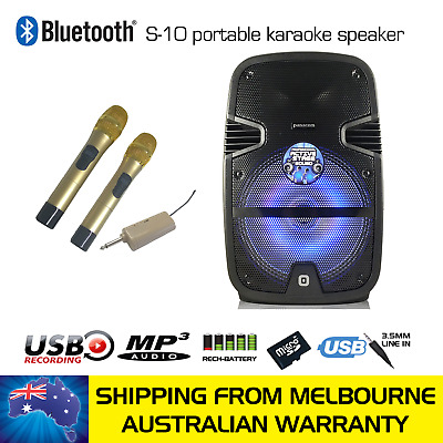 Panacom S-10 Powered Bluetooth Karaoke Speaker - 2 Wireless Microphones