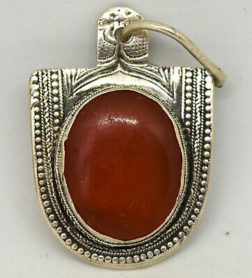Antique Middle Eastern .900 Silver and Large Natural Carnelian Filigree Pendant