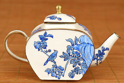 Rare Chinese Old Cloisonne Hand Painting bird flower Statue Tea Pot Noble gift