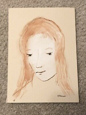 Theodore Wassmer Woman Portrait Watercolor Painting