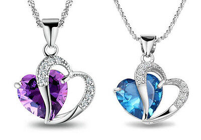 925 Sterling Silver Amethyst Crystal love Heart Pendant Necklace Blue Chain Gift