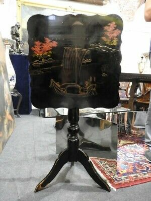 Wonderful Antique Small Table Sailing Lacquer Black with Chinoiserie Period End