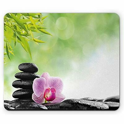 Asian Mouse Pads Pad, Zen Basalt Stone And Orchid Flower With Dew Harmony Spa ""