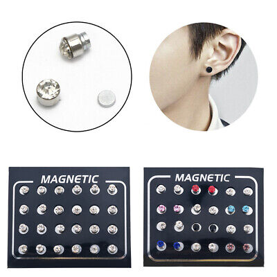 12 Pair Non Piercing Clip on Magnetic Magnet Ear Stud Fake Earring For Men Women