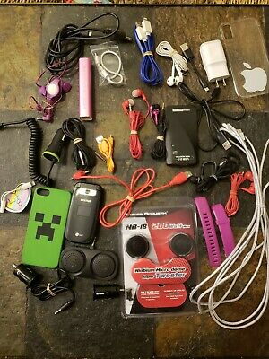 Misc. Cell Phone Junk Drawer Lot ccord, usb iphone, chargers, speakers, battery