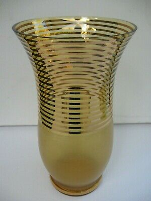 vintage art deco 23cm VASE glossy gold bands with opaque matt gold base