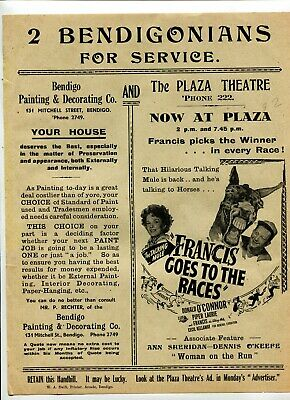 Advertising Bendigo Plaza Theatre 1951