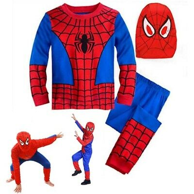 Boy Kids Spiderman Cosplay Costume Superhero Fancy Dress Clothes Full Outfit Set