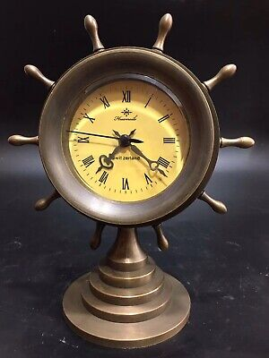 Chinese Old copper handwork Rudder Mechanical clock table Home decoration