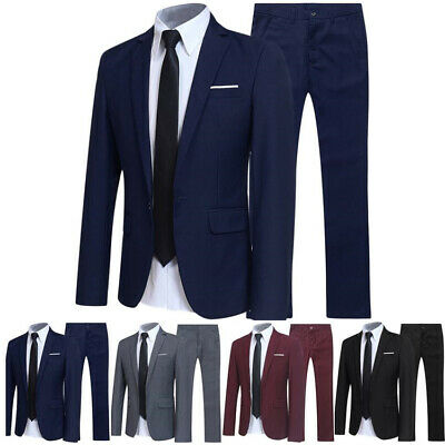 Mens Fomal Suits Work Professional Blazer Top Jackets Pants 2 Pcs Plus SZ US 3XL