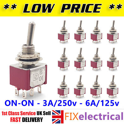 Mini Latching Toggle Switch DPDT ON-ON AC 6A 125V 3A 250V 6 Pin Flick 2 3 4 5 10