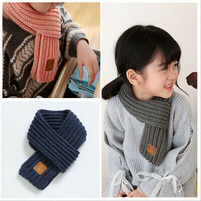 Winter Knitted Scarf Kids Women Men Solid Color Toddler Baby Scarves Neck Warmer