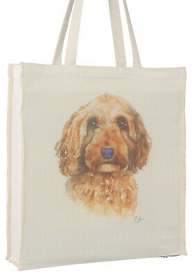 Cockapoo Cockerpoo Red Portrait Dog Cotton Bag Gusset Xtra Space Perfect Gift