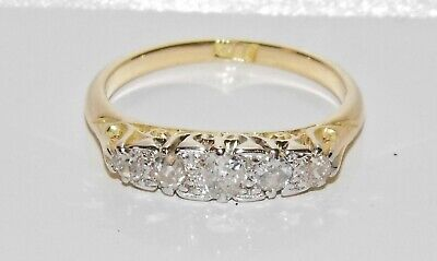 Antique 18ct Gold 0.50ct Diamond 5 Stone Eternity Ring size N