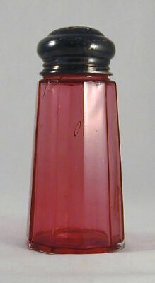 Antique Clear Cranberry Glass Muffineer Sugar Shaker