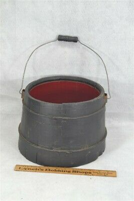 """bucket wooden 8 x 10"""" with bail metal bands painted  antique original"""