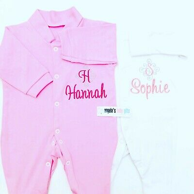 Personalised Monogram Name Baby Grow Sleep Suit Gift Newborn Christening Girl