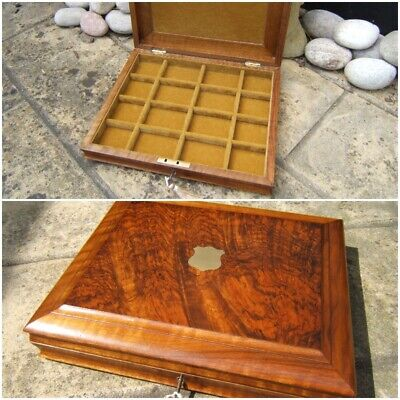 Lovely 19C Solid Walnut Antique Pocket Watch/Jewellery Box  Fab Interior