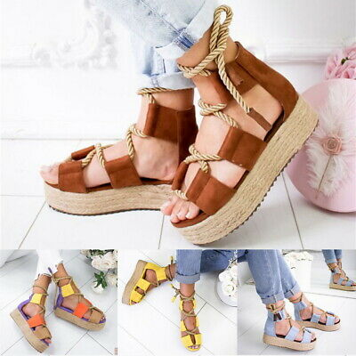 Roman Womens Wedges Platform Sandals Hemp Rope Lace  Up Cross-tied Causal Shoes