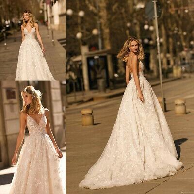 984218a174 2020 Sexy V Neck A Line Wedding Dresses Lace Summer Beach Backless Bridal  Gown