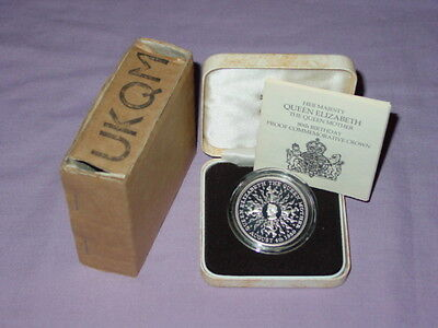 1980 ROYAL MINT SILVER PROOF CROWN - Queen Mother 80th Birthday