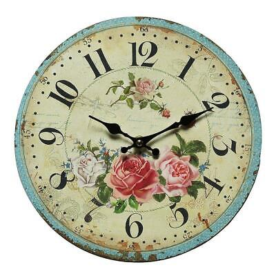 Wall Clock, Clock with Rose Motif, Rose Clock in Country House Style 28 CM