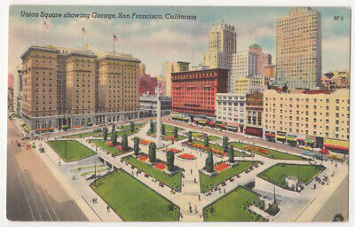 San Francisco California c1940's Union Square Park, Hotel St Francis, Car Garage