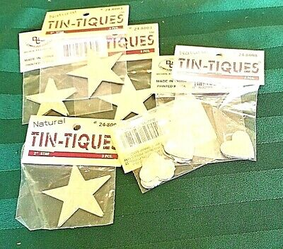 "Huge Lot Tin-Tiques 2"" stars, 1"" Heart Silver cut out flat, lightweight decorate"