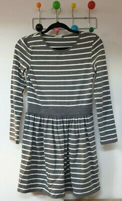 Classic John Lewis Girls Grey Striped Long Sleeve Cotton Dress Age 11 BNWOT