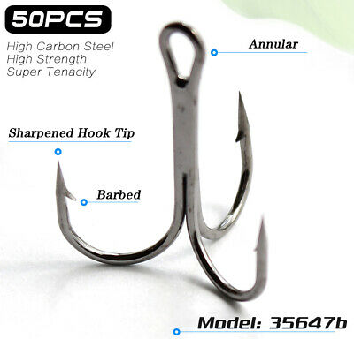 Lots 50pcs Sharpened Treble Black Fishing Hooks Size 2# 4# 6# 8# 10# Fishhook
