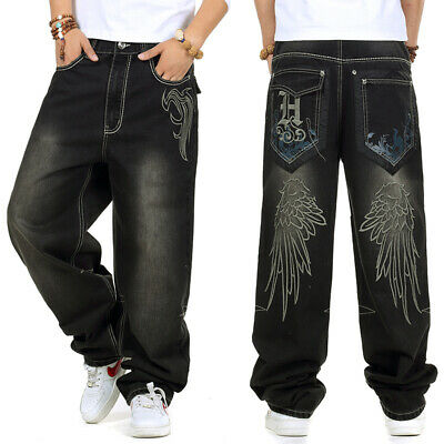 f96af5750e2ae5 Men Jeans Relaxed Fit Big Tall Hip Hop Pants Embroidery Black Plus Size  W30-W46