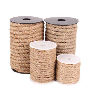 10M Natural Hemp Linen Cord Twisted Burlap Jute Twine Rope String Craft Decor UK