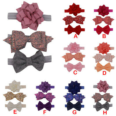 3Pc Newborn Kids Elastic Floral Headband Hair Girls baby Bowknot Hairband Set US