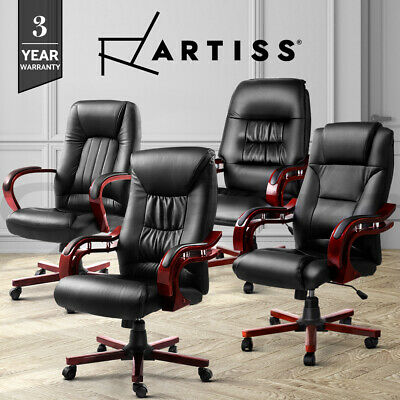 Artiss Office Chair Wooden Computer Gaming Chairs Vintage Leather Seating Black