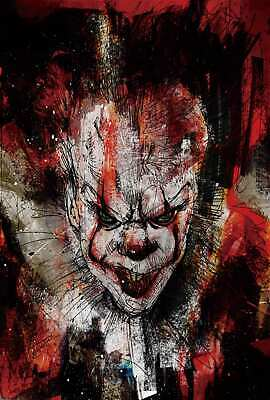 V478 canvas Poster Pennywise Stephen King Movie IT print room decor custom 24x36